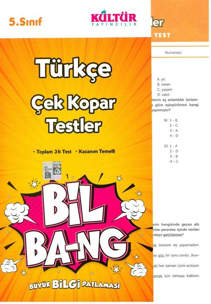 Kültür Yayıncılık 5. Sınıf Türkçe Bil Bang Çek Kopar Testler