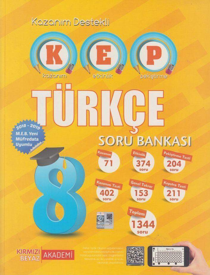 Kırmızı Beyaz Yayınları 8. Sınıf Türkçe KEP Soru Bankası