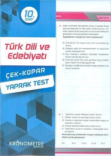 Kronometre Yayınları 10. Sınıf Türk Dili ve Edebiyatı Yaprak Test