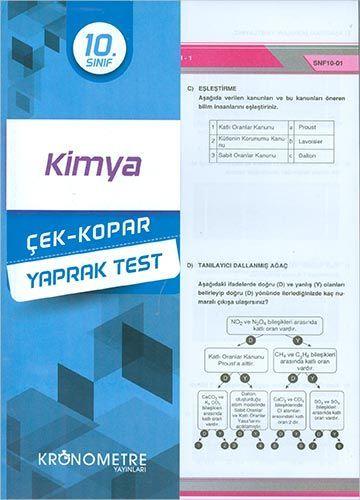 Kronometre Yayınları 10. Sınıf Kimya Yaprak Test