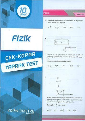 Kronometre Yayınları 10. Sınıf Fizik Yaprak Test