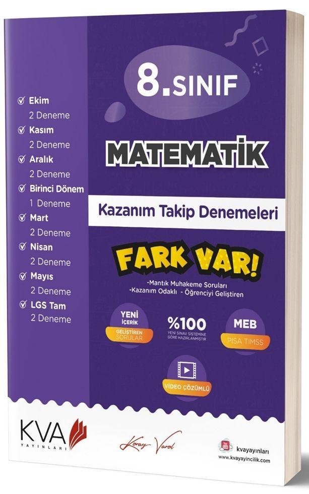 KVA Yayınları 8. Sınıf Matematik Fark Var Kazanım Takip Denemeleri
