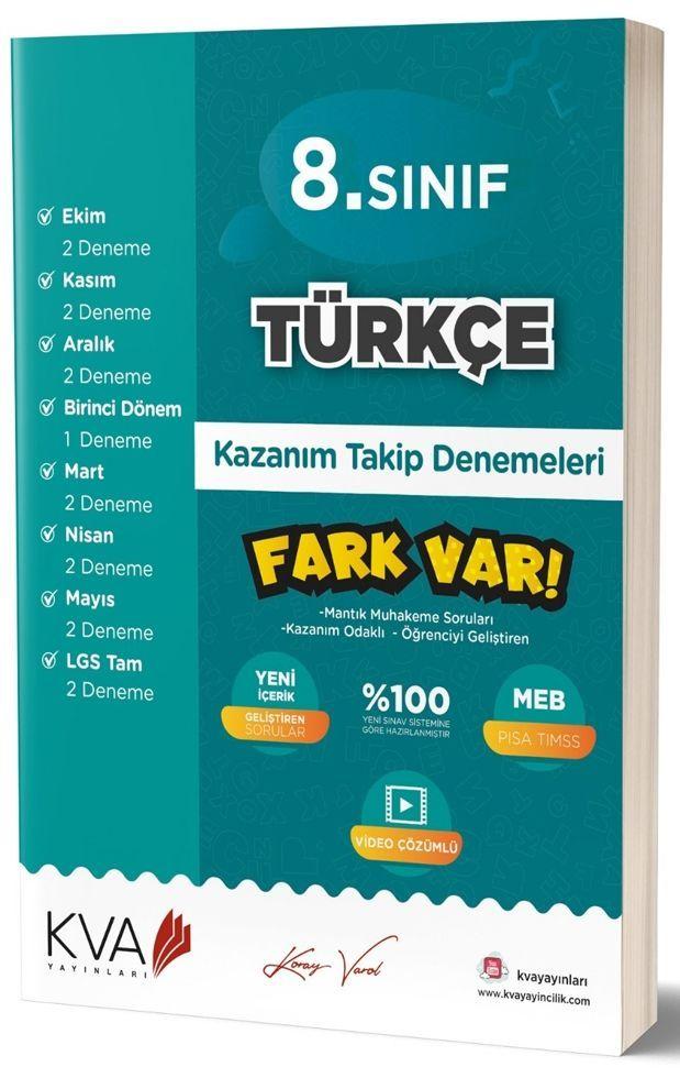 KVA Yayınları 8. Sınıf Türkçe Fark Var Kazanım Takip Denemeleri
