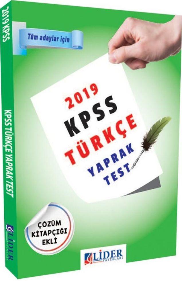 Lider Yayınları 2019 KPSS Türkçe Yaprak Test