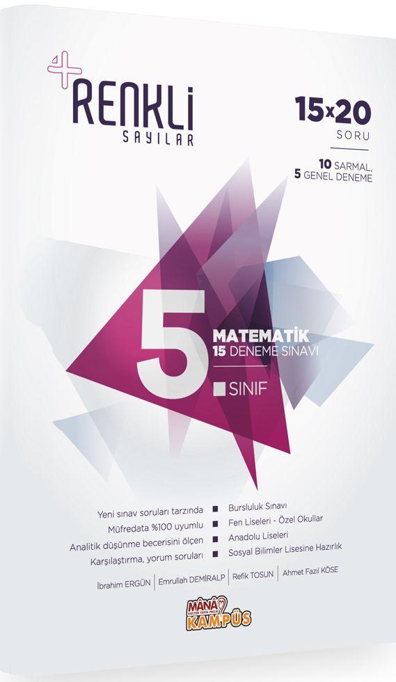 Mana Kitap 5. Sınıf Matematik Renkli Sayılar 15 Deneme Sınavı