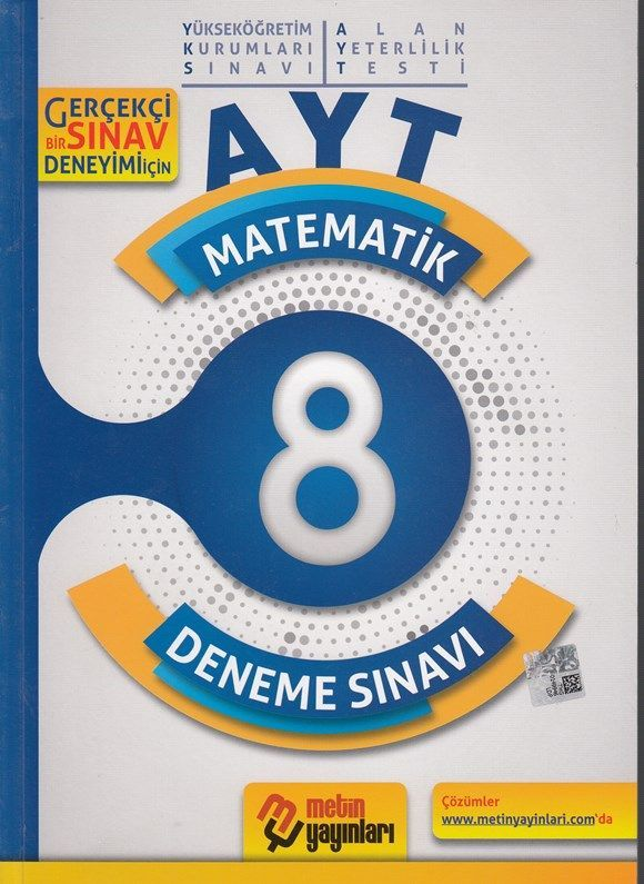 Metin Yayınları AYT Matematik 8 Deneme Sınavı