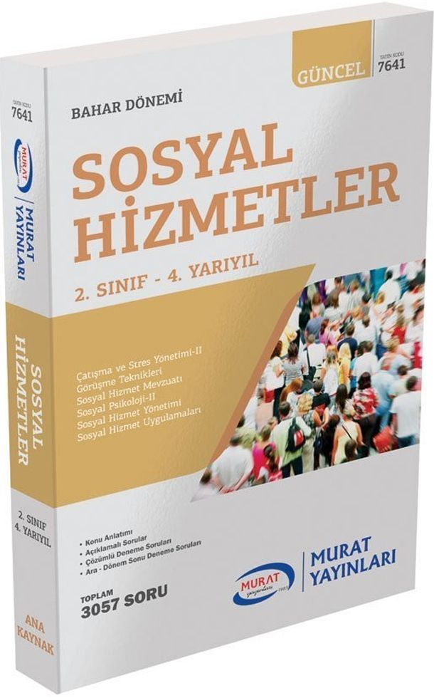 Murat Yayınları Bahar Dönemi 2. Sınıf 4. Yarıyıl Sosyal Hizmetler