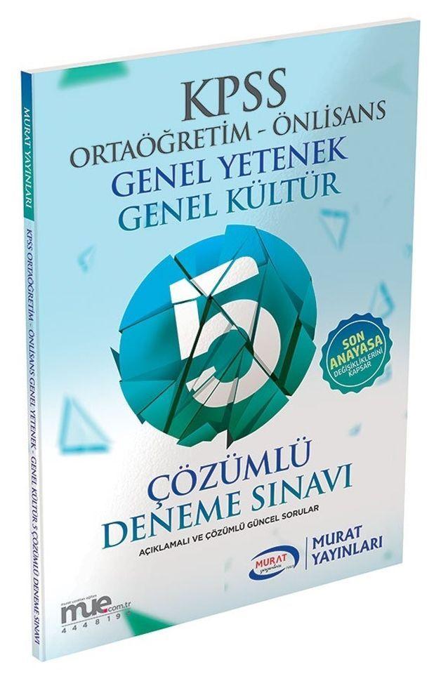 Murat Yayınları KPSS Ortaöğretim Önlisans 5 Çözümlü Deneme Sınavı