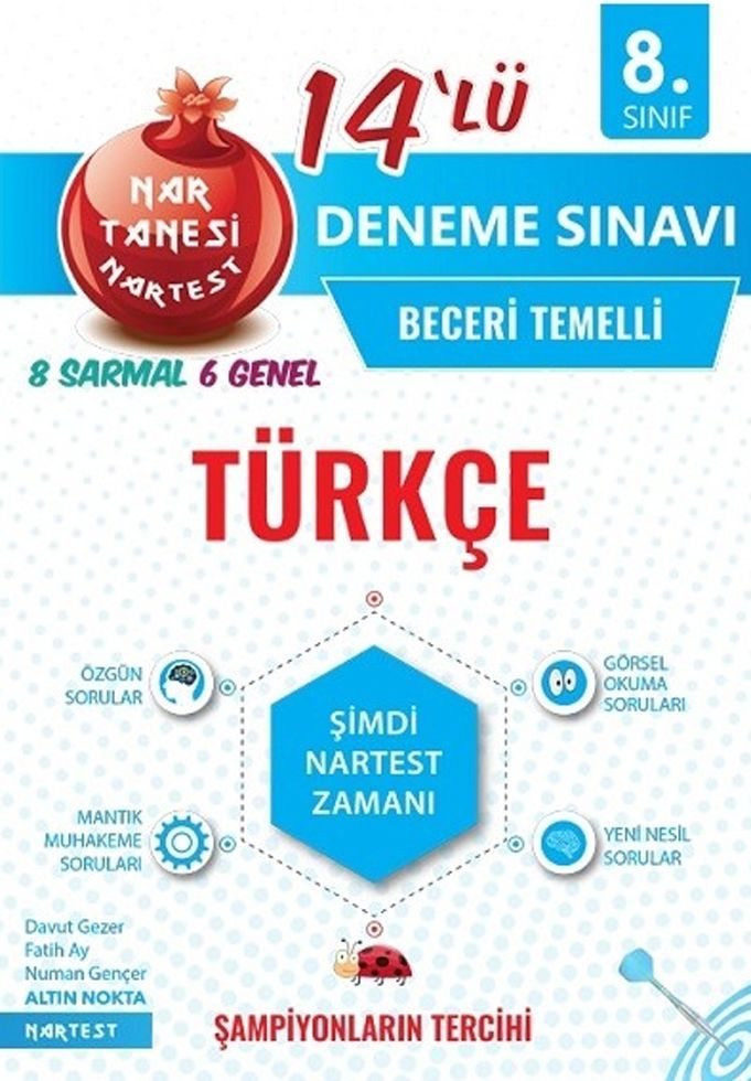 Nartest Yayınları 8. Sınıf Türkçe Nar Tanesi 14 lü Deneme Sınavı