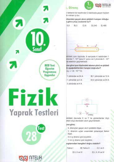 Nitelik Yayınları 10. Sınıf Fizik Yaprak Testleri