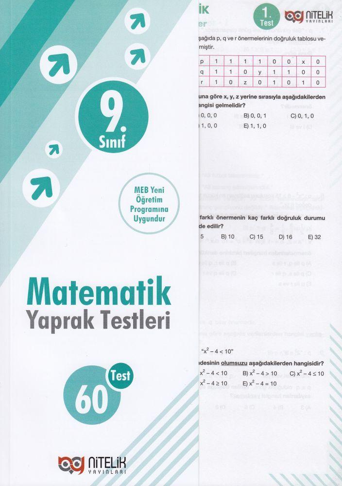 Nitelik Yayınları 9. Sınıf Matematik Yaprak Test
