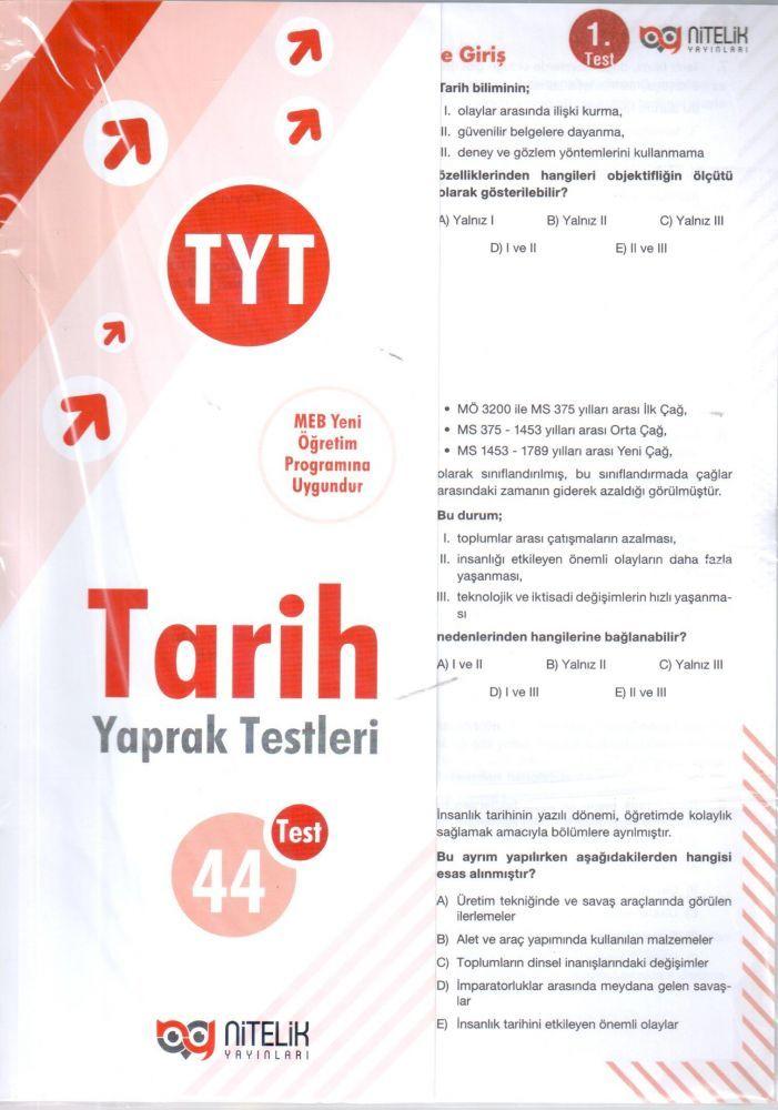 Nitelik Yayınları TYT Tarih Yaprak Testleri