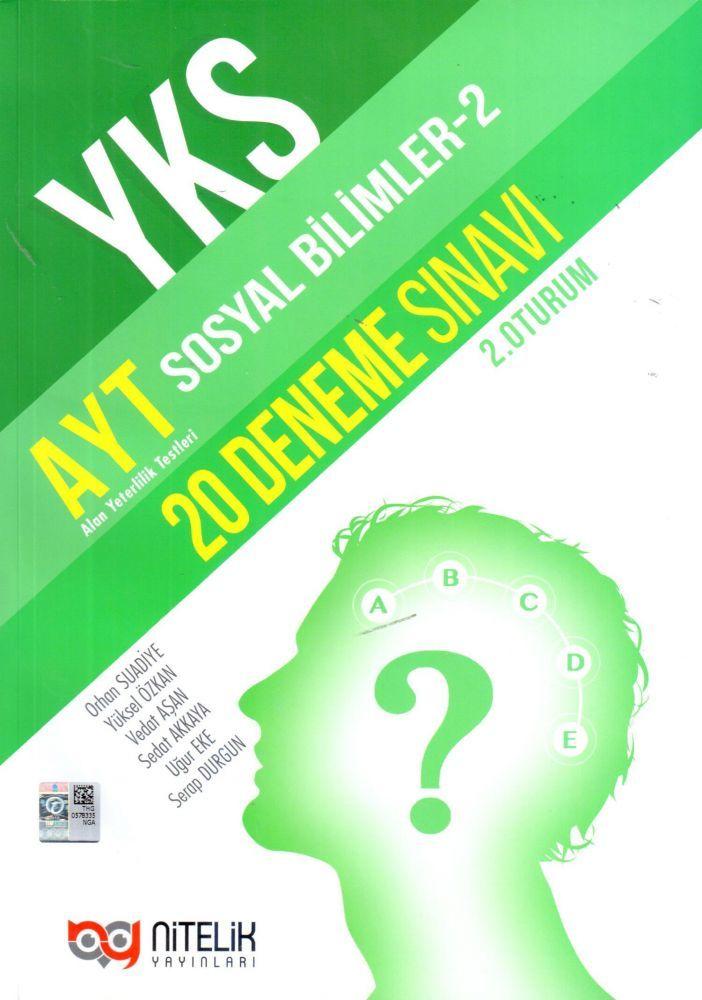 Nitelik Yayınları AYT Sosyal Bilimler 2 20 Deneme Sınavı