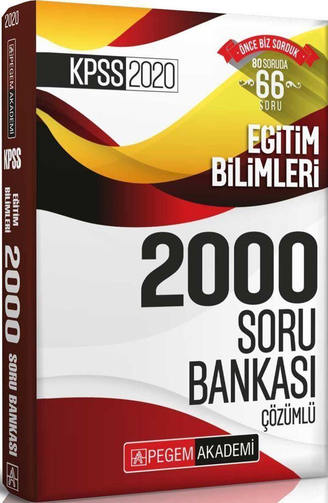Pegem Yayınları 2020 KPSS Eğitim Bilimleri Çözümlü Efsane 2000 Soru Bankası