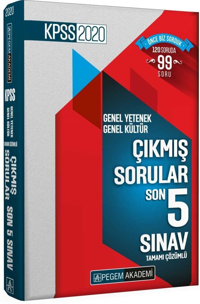 Pegem Yayınları 2020 KPSS GY GK Son 5 Sınav Tamamı Çözümlü Çıkmış Sorular