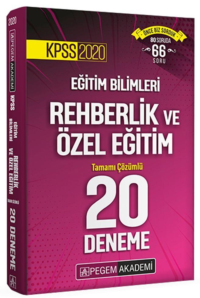 Pegem Yayınları 2020 KPSS Rehberlik ve Özel Eğitim Tamamı Çözümlü 20 Deneme