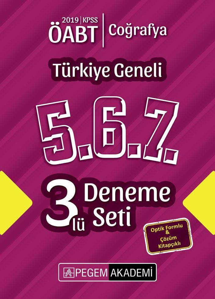 Pegem Yayınları 2019 ÖABT Coğrafya Türkiye Geneli Deneme 5.6.7. 3 lü Deneme Seti