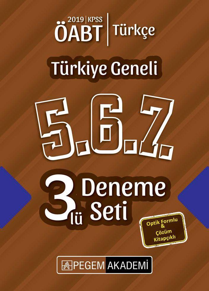 Pegem Yayınları 2019 ÖABT Türkçe Türkiye Geneli Deneme 5.6.7. 3 lü Deneme Seti