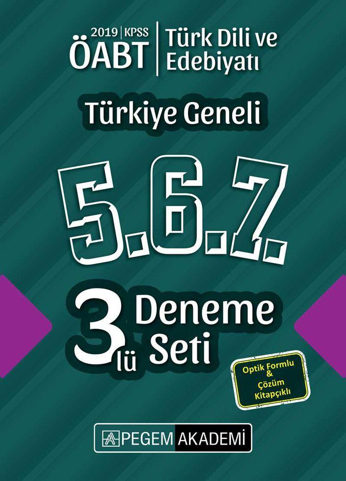 Pegem Yayınları 2019 ÖABT Türk Dili ve Edebiyatı Türkiye Geneli Deneme 5.6.7. 3 lü Deneme Set