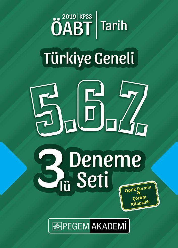 Pegem Yayınları 2019 ÖABT Tarih Türkiye Geneli Deneme 5.6.7. 3 lü Deneme Seti