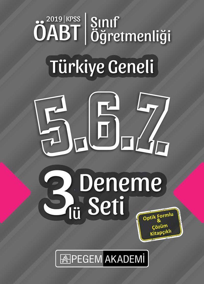 Pegem Yayınları 2019 ÖABT Sınıf Öğretmenliği Türkiye Geneli Deneme 5.6.7. 3 lü Deneme Seti