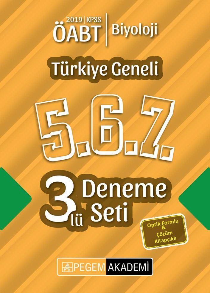 Pegem Yayınları 2019 ÖABT Biyoloji Türkiye Geneli Deneme 5.6.7. 3 lü Deneme Seti
