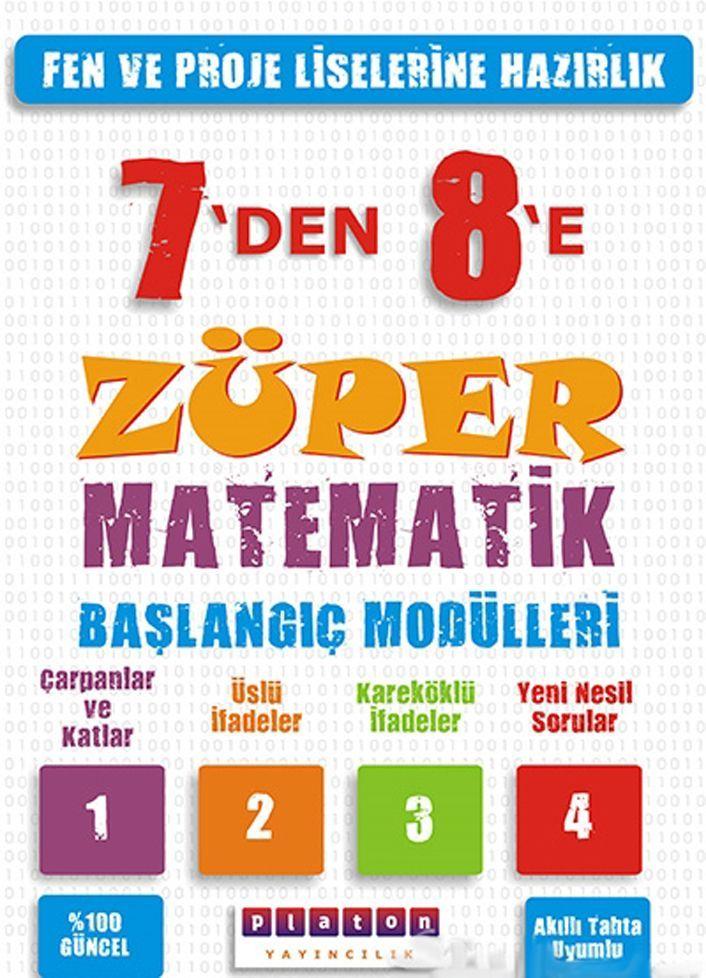 Platon Yayıncılık 7 den 8 e Züper Matematik Başlangıç Modülleri
