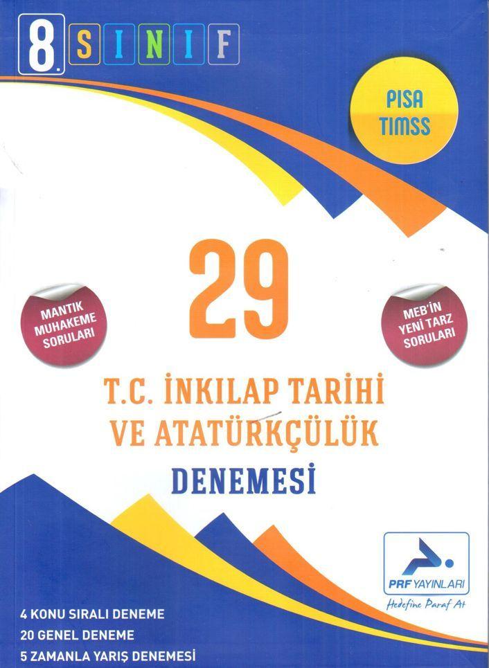 PRF Yayınları 8. Sınıf T.C. İnkılap Tarihi ve Atatürkçülük 29 Denemesi