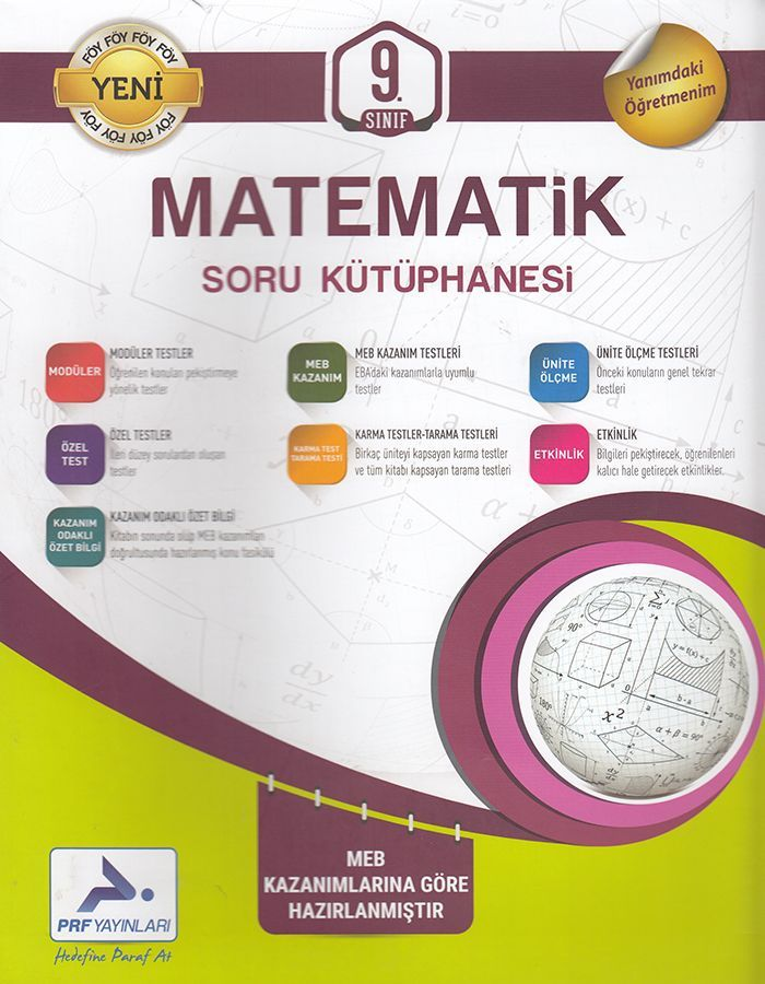 PRF Yayınları 9. Sınıf Matematik Soru Kütüphanesi