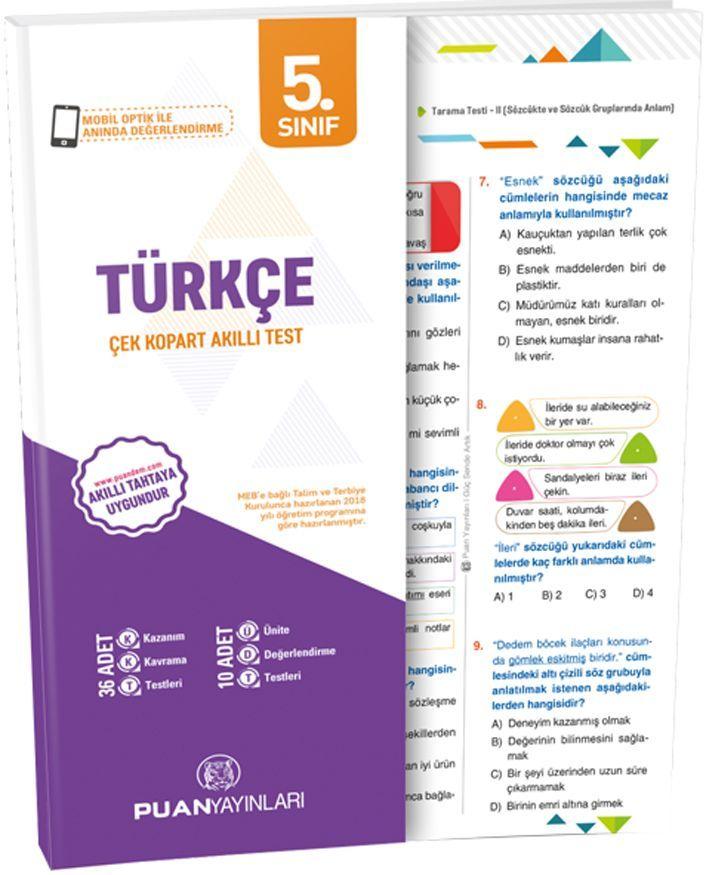 Puan Yayınları 5. Sınıf Türkçe Akıllı Test