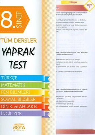 Rty Rota Yayınları 8.Sınıf LGS Tüm Dersler Yaprak Test