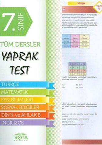 Rty Rota Yayınları 7.Sınıf Tüm Dersler Yaprak Test