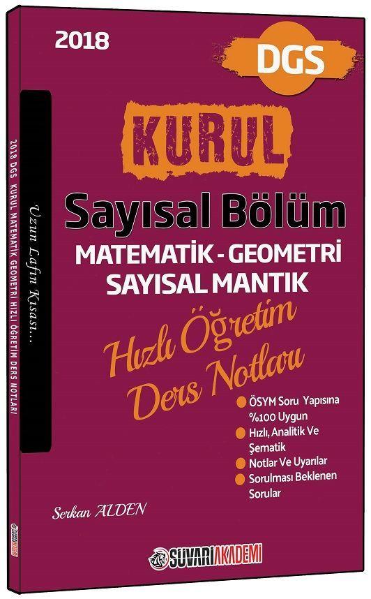 Süvari Akademi Yayınları 2018 DGS Kurul Sayısal Bölüm Hızlı Öğretim Ders Notları