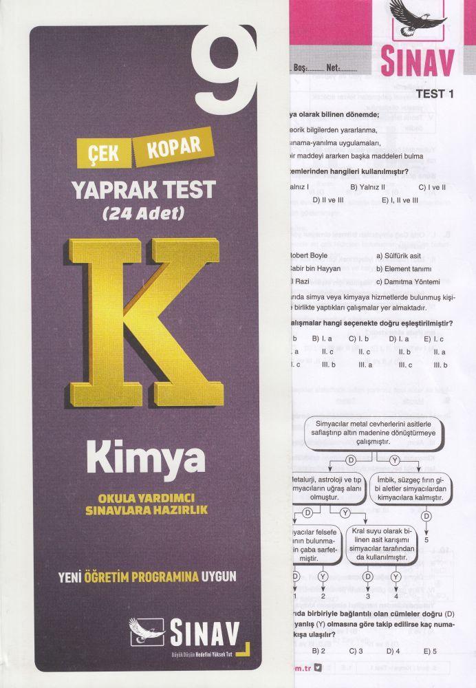 Sınav Yayınları 9. Sınıf Kimya Çek Kopar Yaprak Test