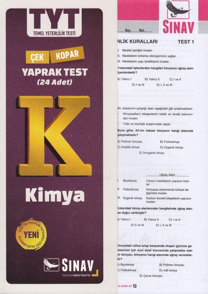 Sınav Yayınları TYT Kimya Çek Kopar Yaprak Test