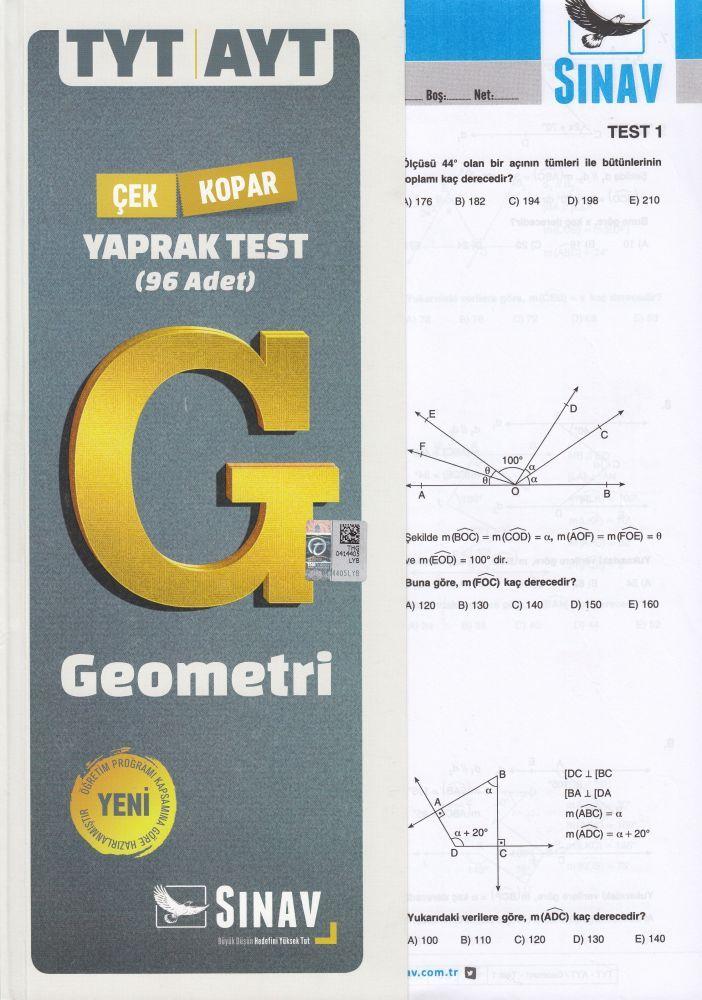 Sınav Yayınları TYT AYT Geometri Çek Kopar Yaprak Test