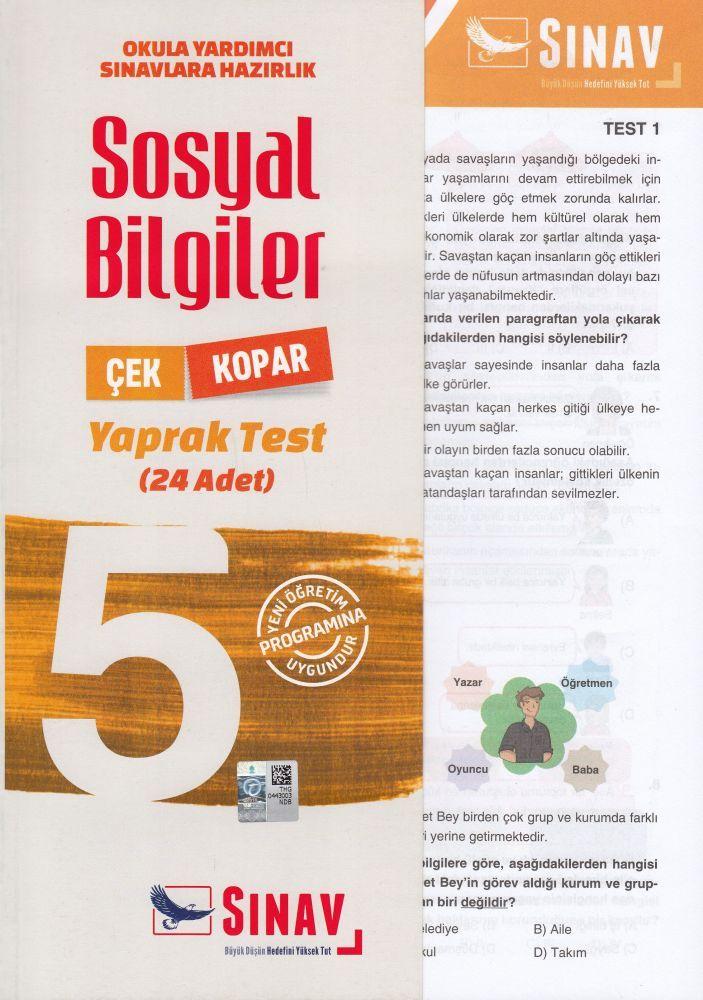 Sınav Yayınları 5. Sınıf Sosyal Bilgiler Çek Kopar Yaprak Test