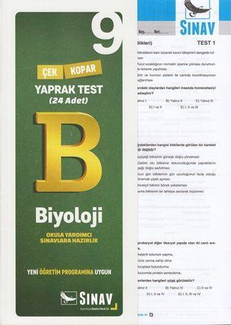 Sınav Yayınları 9. Sınıf Biyoloji Çek Kopar Yaprak Test