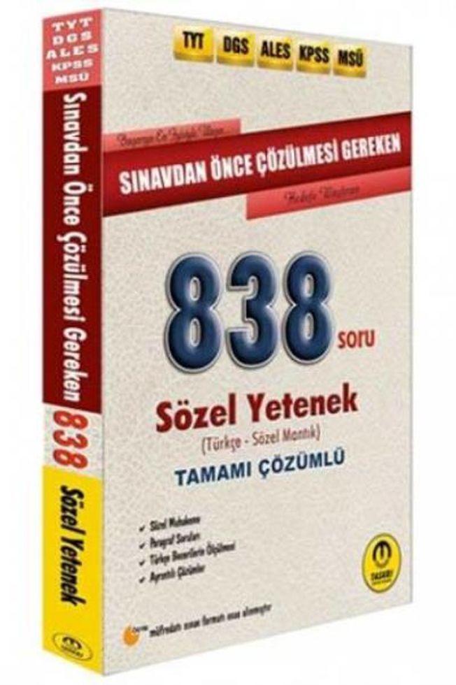 Tasarı Yayınları DGS ALES TYT KPSS Öncesi Çözülmesi Gereken Sözel Yetenek 838 Soru