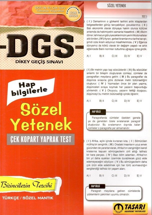 Tasarı Yayınları DGS Sözel Yetenek Çek Kopart Yaprak Test