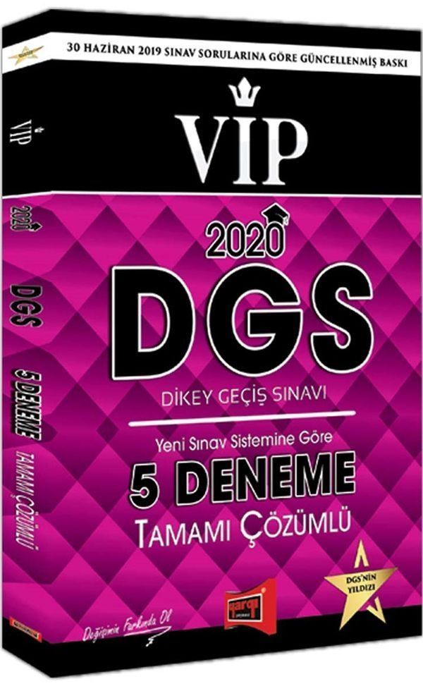 Yargı Yayınları 2020 DGS VIP Yeni Sınav Sistemine Göre Tamamı Çözümlü 5 Deneme