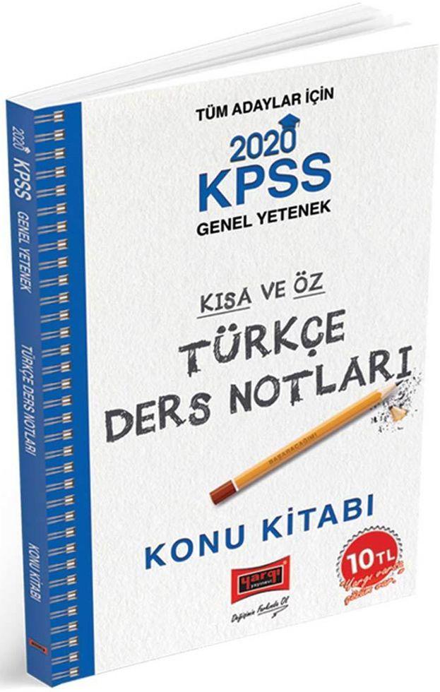 Yargı Yayınları 2020 KPSS Türkçe Kısa ve Öz Ders Notları