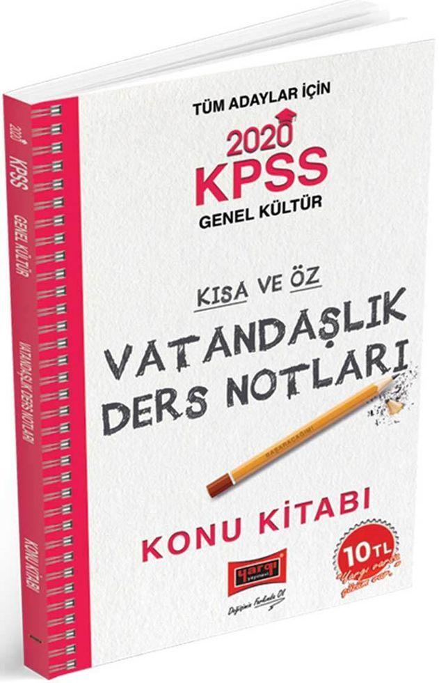 Yargı Yayınları 2020 KPSS Vatandaşlık Kısa ve Öz Ders Notları