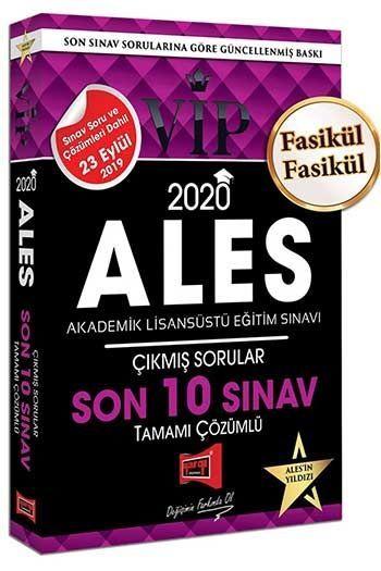 Yargı Yayınları 2020 ALES VIP Tamamı Çözümlü Son 10 Sınav Çıkmış Sorular