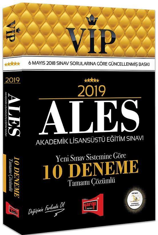 Yargı Yayınları 2019 ALES VIP Yeni Sınav Sistemine Göre Tamamı Çözümlü 10 Deneme