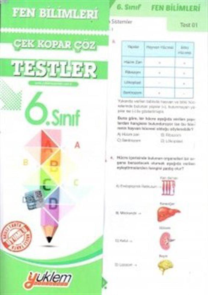 Yüklem Yayınları 6. Sınıf Fen ve Teknoloji Çek Kopar Çöz Testler