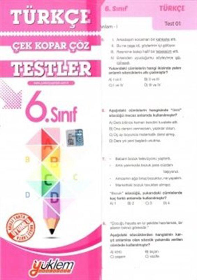 Yüklem Yayınları 6. Sınıf Türkçe Çek Kopar Çöz Testler