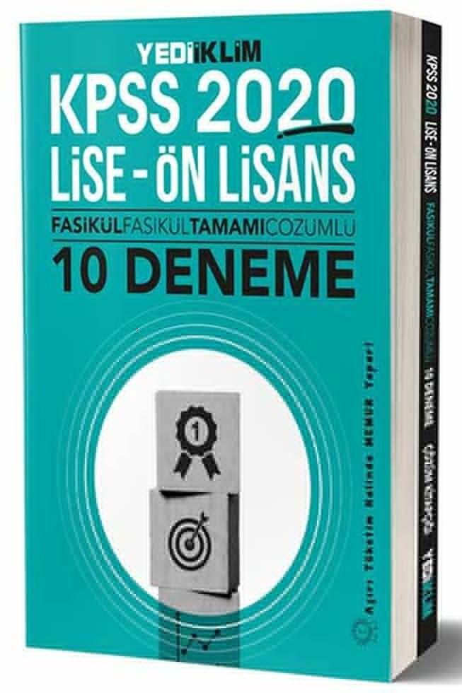 Yediiklim Yayınları 2020 KPSS Lise Ön Lisans Fasikül Fasikül Tamamı Çözümlü 10 Deneme