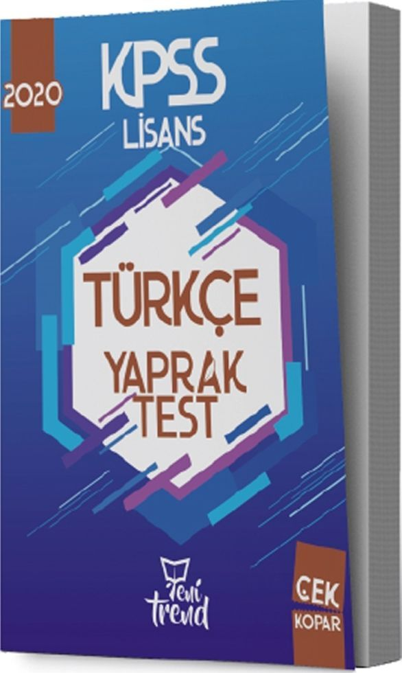 Yeni Trend Yayınları 2020 KPSS Türkçe Yaprak Test