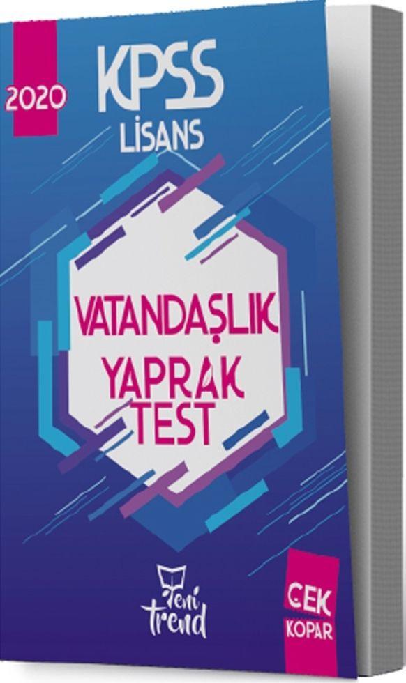 Yeni Trend Yayınları 2020 KPSS Vatandaşlık Yaprak Test